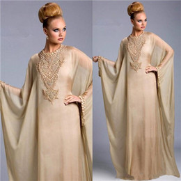 Nude viNtage loNg eveNiNg dress online shopping - Kaftan Dubai Formal Evening Dresses With Long Sleeve Muslim Evening Gowns Beads Pearls Long Arabic Prom Dresses Floor Length customized