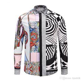 Shirt Stitching Pattern NZ - New Autumn Fashion Slim Fit Men Medusa Long Sleeve Shirt Black and white stripe stitching print pattern Men Shirts Casual Cotton Shirts