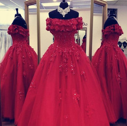 Wholesale Red Off shoulder Quinceanera Prom dresses Lace Applique Sequins Ball Gowns Bling Beaded tulle Corset Evening Formal Gowns Cheap
