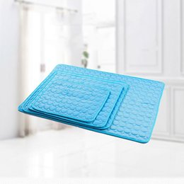 moisture proof mat NZ - New Pet Pad Summer Cooling Mat Dog Beds Mats Blue Pet Ice Pad Cool Cold Silk Moisture-Proof Puppy Sleeping Cushion Cooler Mattress