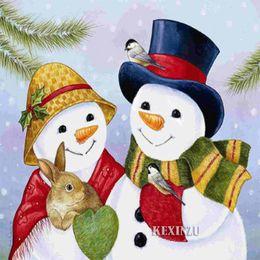 "$enCountryForm.capitalKeyWord NZ - kexinzu Full Square Round 5D DIY Diamond Painting""Christmas Card Gift"" Snowman Embroidery Cross Stitch Mosaic 15x15cm Home Decor Gift"