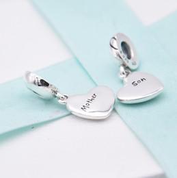 $enCountryForm.capitalKeyWord Australia - Authentic 925 Sterling Silver Enamel Two-part Mother & Son Love Heart Pendant Charm Fit Pandora Bracelet Bangle DIY Jewelry