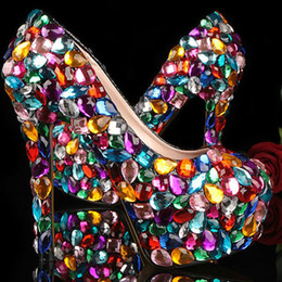 ShoeS for nightclub online shopping - Crystal Glitter Fashion Multicolor Wedding Shoes Ladies Platform High Heel Evening Shoes Nightclub Dancing Dress Shoes for Woman Plus Size
