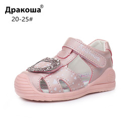baby girls sandals Australia - Apakowa Toddler Baby Girls Closed Toe Sandals Summer Kids Hook And Loop Sandals Beach Travel Party Dress Shoes With Arch Support Y19062001