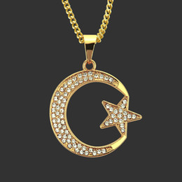 $enCountryForm.capitalKeyWord Australia - Fashion Pendant Necklace Fulled with Bling Crystal Diamond Moon Star Pendant Unisex Gold Plated Chain Long Necklace Rapper Hip Hop Necklace