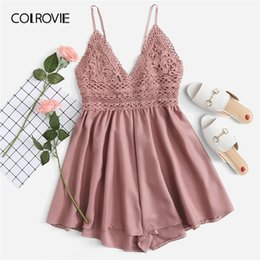 women s pink jumpsuits NZ - Colrovie Pink Solid V Neck Backless Contrast Lace Knot Back Cami Boho Romper Women 2019 Summer Sexy Girly Rompers Short Jumpsuit Y19071801