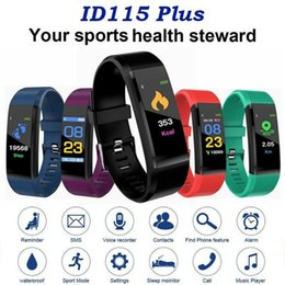 Smart watcheS dhl online shopping - ID115 Plus Smart Bracelet Fitness Tracker Smart Watch Heart Rate Watchband Smart Wristband For Apple Android Cellphones with Box DHL