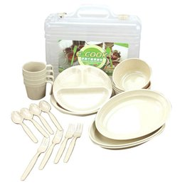 plastic picnic sets UK - Outdoor Picnic Barbecue Portable Plastic Tableware Set Bowl Dish Cup Set Combination