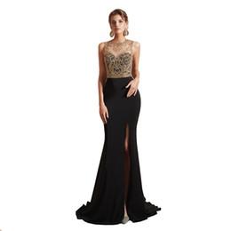 9b3fc454f Vestidos de fiesta de sirena negro largo y largo 2019 Nueva ilusión sin  mangas Dividir lado rebordear piso-longitud Vestido de noche formal Vestidos  de ...