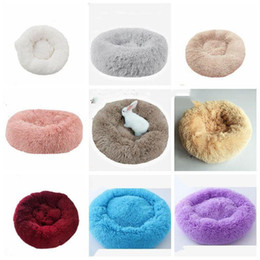 Wholesale round houses for sale – custom Pet Round Bed Kennel Long Plush Super Soft Dog Cat Comfortable Sleeping Cusion Winter House for Cat Warm Dog beds Pet Products LXL1071