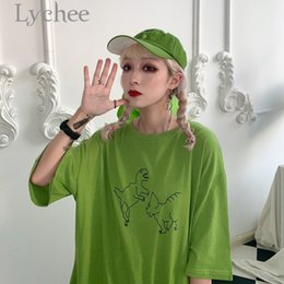 green dinosaur shorts 2019 - Lychee Harajuku Cartoon Dinosaur Print Women T-shirt Summer Short Sleeve T Shirt Female Tshirts Causal Loose Tee Tops ch