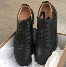 2019Top qualité Designer Chaussures Cloutés Pointes Hommes Rouge Bas Chaussures Hommes Baskets Casual GREY NOUVEAU Appartements 100% En Cuir Véritable Pour nous 5-12 en Solde