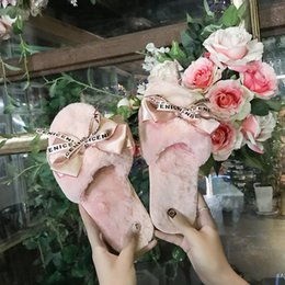 cute home slippers NZ - Women Plush Home Slippers with Faux Fur Warm Shoes Woman Slip on Flats Cute Bowtie Female Slides Plus Size 41