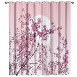 pink curtain fabric NZ - Japanese Cherry Blossoms Pink Window Curtains Dark Living Room Outdoor Fabric Indoor Print Decor Window Treatment Valances