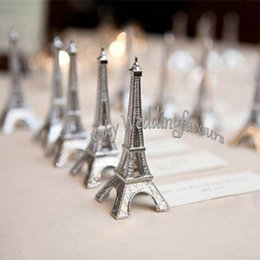 photo place card holders UK - 100PCS Evening in Paris Eiffel Tower Silver Place Card Holder Party Favors Photo Clip Wedding Table Setting Decorations