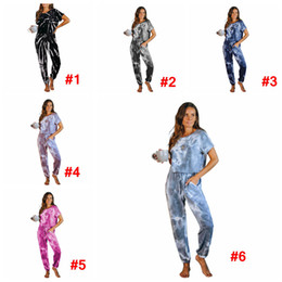 Wholesale tracksuit short jumpsuit resale online – Short Sleeve Tie Dye Jumpsuit Women girls Summer Drawstring Pockets Rompers Casual Tracksuit Home Clothinng LJJA4089