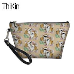 $enCountryForm.capitalKeyWord Australia - THIKIN Makeup Bags for Women Pekingese Dog Printing Cosmetic Cases Ladies Make Up Box Females PU Leather Cosmetic Bag Storage