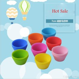 Cupcake Baking Australia - Lot10pcs Set 7CM Silicone Muffin Cupcake Round Shaped Mould Bakeware Maker Mold Tray Baking Cup Liner Baking Molds Kitchen Accessories