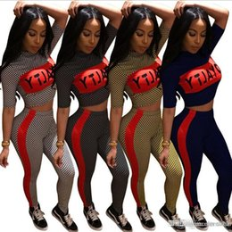 $enCountryForm.capitalKeyWord Australia - 4 color tracksuit Women Short Sleeve Letter Print Plaid Crop Top Bodycon Long Pant Play suit EEA90
