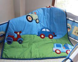 Babies Bedding Sheets Australia - New arrival Baby bed linens cotton Crib bedding set 6Pcs Cot bedding set for boy infant Quilt Bumper Fitted Sheet