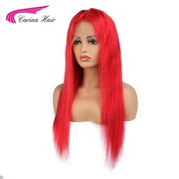 red remy human hair 2019 - Carina Hair Brazilian Remy Hair Lace Front Human Wigs with Baby Pre-Plucked Hairline Red Glueless Wigs cheap red remy hu