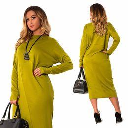 13c285cad45 Plus Size 4XL 5XL 6XL women clothing 2018 long sleeve autumn Elegant Loose Large  size o neck green midi dress vestidos femininos Y19012102