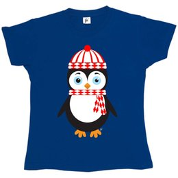 Jersey cotton scarf online shopping - Penguin Wearing Winter Hat Scarf Christmas Womens Boyfriend Fit T Shirt Style Round Style tshirt Tees Custom Jersey t shirt