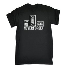 Wholesale Never Forget Floppy Vhs Cassette T SHIRT Retro S Video Tape Gift Birthday top new fashion
