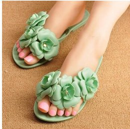 $enCountryForm.capitalKeyWord NZ - Camellia flip-flops female model of stereo camellia jelly slippers sandals summer sandals wholesale