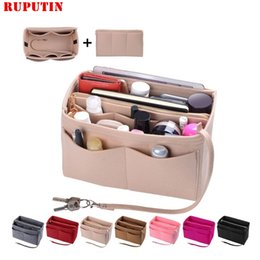 cosmetic bag insert liners NZ - New Popular Women's Makeup Organizer Felt Cloth Insert Bag Multi-functional Travel Cosmetic Bag Girl Storage Toiletry Liner Bags