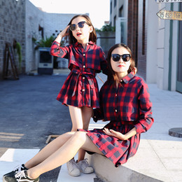 Red woven belt online shopping - Family matching dresses mother and daughter casual blouses tops shirt plaid belted dress long sleeve a line cardigan red green CJ191209