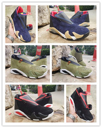 Wholesale Retro Big Kids Mens zipper Basketball Shoes suede Olive Mesh last shot black red Fusion Jumpman Z s XIV Playoffs Sneakers Size Y US13