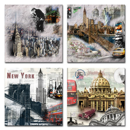 $enCountryForm.capitalKeyWord Australia - 4 Panels Canvas Wall Art New York Cityscape Pictures Print Landscape Painting for Living Room Bedroom Decor Stretched and Framed Artworks