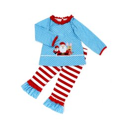 christmas clothes Australia - Christmas Baby Outfits Cute Kids Dot Santa Claus Deer Print Long Sleeves Lace Collar Tops Girls Striped Flare Pants Clothes TTA1954-2