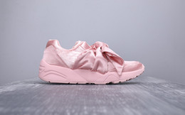 $enCountryForm.capitalKeyWord Australia - 2019 Free Shipping Bow Tie Rihanna Casual Shoes Basket Heart Satin Black White And Pink Board Shoes Silk Banded Bow Goddess Shoes 36-40