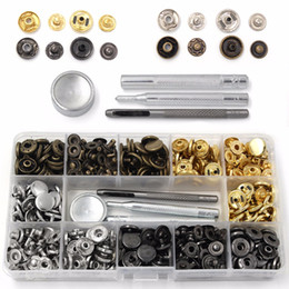 snap tools NZ - 40-120 Pcs 4 Colors Snap Fasteners Leather Snaps Button Kit Jeans Press Studs with 4 Pieces Fixing Tools, 12.5 Mm In Diameter