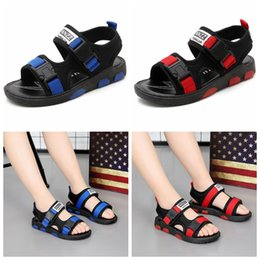 new style girl flat shoes 2019 - 2019 summer new style Boy's shoes sandals Girls beach shoes Fashion classic Non-slip student shoes Red Black Blue c