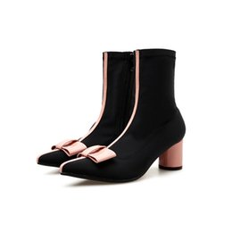 a25937cbe7b 2019 Women 6cm High Heels Ankle Sock Boots Female Pink Bowknot Stretch Boots  Booties Lady Cute Dress Pointy Block Heels Shoes