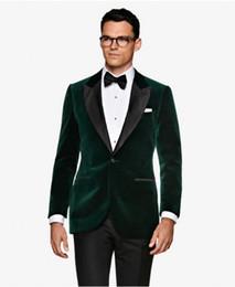 New prom tuxedos online shopping - Brand New Green Velvet Men Wedding Tuxedos Black Lapel Groom Tuxedos Excellent Men Blazer Piece Suit Prom Dinner Jacket Jacket Pants Tie