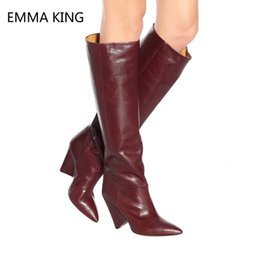 eed12e0a383 Women Wide Calf Boots Burgundy Leather Knee High Boots Strange Heel Shoes  Ladies Pointed Toe High Heel Long