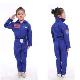 uniform boy girl Australia - Carnival Kids Girls Uniform Pilot Cosplay Costumes Fancy Tops+trousers Clothing Set for Boys Stage Performance