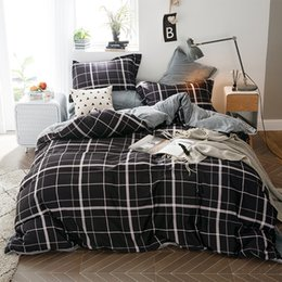 Discount dark grey bedding - 2018 Brief Plaids Dark Grey Duvet Cover Set 1 Side Cotton 1 Side Coral Fleece Bedlinens Twin Queen King Bed Cover Pillow
