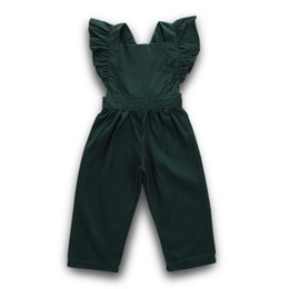 Girls kiss online shopping - Kiss Girls Jumpsuits Overalls European Style Childrens Wear Flying Sleeve Straps Lotus Leaf Pattern Fold Comfortable Dress Pure Color