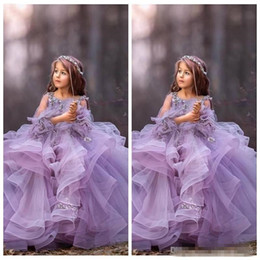 $enCountryForm.capitalKeyWord Australia - 2019 Scoop Neck Lace Appliques With 3D Flowers Adorned Flower Girls' Dresses Tulle Ruffles Formal Kids Pageant Party Gowns Custom Communion