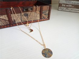 Rose Pendant Jewellery Australia - cecmic moon and star pendant italina snap jewelry chunk necklace with 3 layered long gold jewellery set 2019 latest fashion style