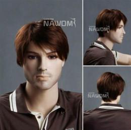Mans Small Wig Australia - Lifelike Men Short Brown Fashion Hair Wigs Cosplay Heat Resistant Auction H46