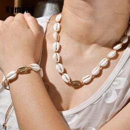 $enCountryForm.capitalKeyWord Australia - Kymyad Bohemia Jewelry Set Sea Shell Bracelet Necklace Jewelry Sets For Women Bijoux Rope Chain Necklace Set Costume