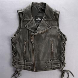 Wholesale leather vest men motorcycle resale online - Factory Vintage Grey Men Leather Biker Vest Oblique Zipper Slim Fit Genuine Thick Cowskin Men Motorcycle Vest Coats