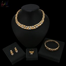 $enCountryForm.capitalKeyWord Australia - 2019 New Listing Crystal Warm Heart Shape Love Design Gold and Silver Color Jewelry Set For Women Wedding Bridal