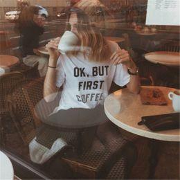 $enCountryForm.capitalKeyWord Australia - Casual first coffee letter print Women Tee Harajuku Round Collar Patchwork Shirt Retro Solid Pullover Cheap Shirt